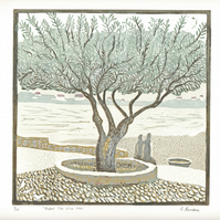 """Under the Olive Tree"" lino print by Denise Burden"