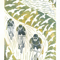 handprinted linoprint, cyclists, sea, waves, birds, limited edition