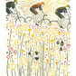 Lino print, cycling through flower filled meadows in the sunshine