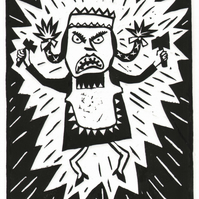 lino-print, black and white, jumping figure, humour