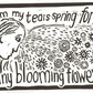 Lino print, freestyle typography, positive from suffering, tears, flowers, hope