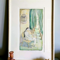Memories of an Italian garden. Framed ORIGINAL mixed media painting.