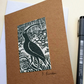 Handmade, hand-printed linoprint father's day card of curlew bird