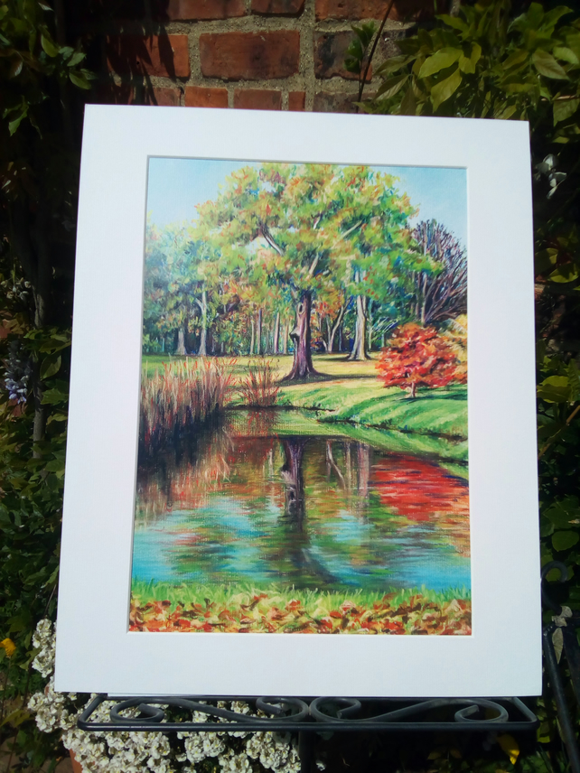 A3plus Print of my original Pastel Drawing, Autumn Reflection