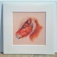 "'Red' 12""x12"" Mounted Print of original pastel drawing"