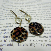 Diamonte & Leopard Print Earrings on Antique Brass - 'Bette'