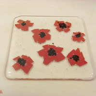 Red Flower Fused Glass Coaster - 'Poppies'