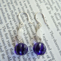 Moonstone & Blue Czech Glass Dangle Earrings - 'Blueberry Drops'