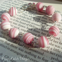 Pink Glass Bracelet & Earrings Set - 'Raspberry Ripple'