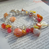 Yellow & Orange Glass Charm Bracelet - 'Sunshine'