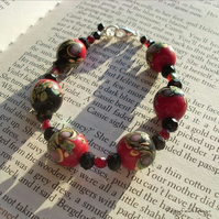 Black & Red Lampwork Glass Bracelet & Earring Set - 'Rebecca'