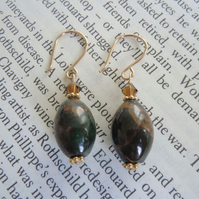 Agate Brown & Gold Earrings - 'Grecian'