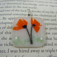 Fused Glass Pendant - 'Orange Poppies'
