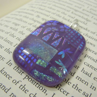 Dichroic Fused Glass Pendant Purple - 'Purple Patchwork '