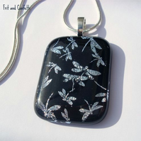 RESERVED Black Dichroic Glass Pendant - Dragonflies