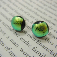 Green Dichroic Glass Stud Earrings - 'Radioactive'