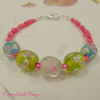 English Summer bracelet - pink blue green