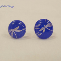 Firefly Cufflinks Blue Fused Glass Dragonflies