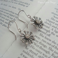 Vintage Brass & Crystal Snowflake earrings - 'Snowflake'