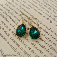 Vintage Emerald Green Jewel Earrings - 'Emerald Isle'
