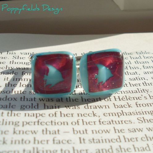 Fish Fused Glass Cuff Links - 'Fishy'