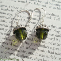 Green Glass Acorn Earrings - 'Little Acorns'