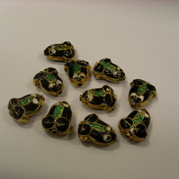 Bead Destash - Enamel cloissone frogs