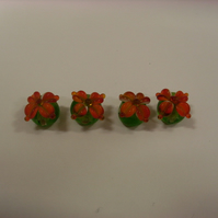 Glass Lampwork Beads - Orange Flower