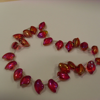 Bead Destash - Pink Glass Teardrops