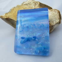 Large Unique Blue Scene Fused Glass Pendant