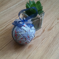 Blue Shabby Chic Quilted Bauble