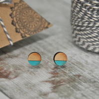 Geometric Wooden Lasercut Round Stud Earrings Dipped Blue