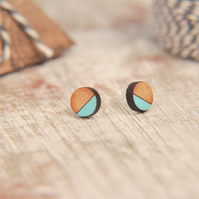 Geometric Wooden Lasercut Round Stud Earrings Dipped Aqua