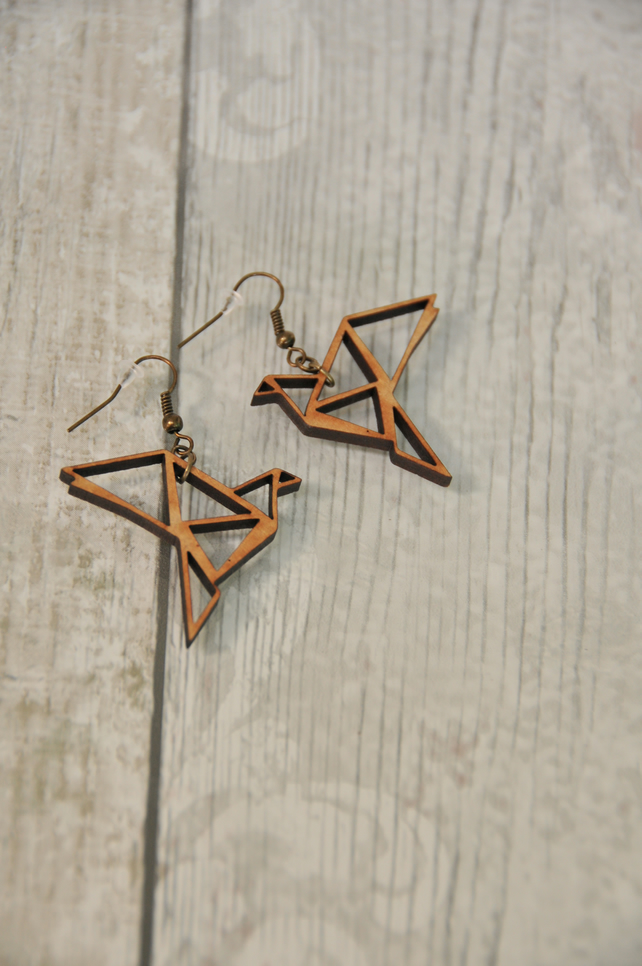 Lasercut Origami inspired Bird Drop Earrings