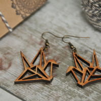 Lasercut Origami inspired Crane Drop earrings