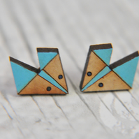 Handpainted Geometric Fox Stud Earrings in Aqua