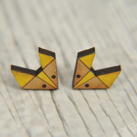 Handpainted Geometric Fox Stud Earrings in Yellow