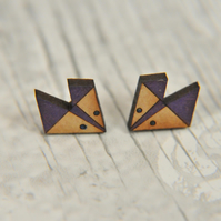 Handpainted Geometric Fox Stud Earrings in Purple
