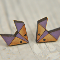 Handpainted Geometric Fox Stud Earrings in Lavender