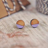 Geometric Wooden Lasercut Round Stud Earrings Dipped Lavender