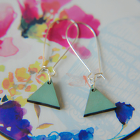 Geometric Sage Wooden Pendent Earrings