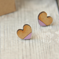 Dipped Lavender Love Heart Wooden Lasercut Stud Earrings