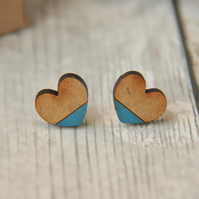 Dipped Turquoise Love Heart Wooden Lasercut Stud Earrings