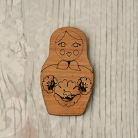 Cute Russian Doll Wooden Brooch