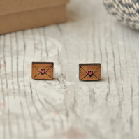With Love letter Wooden Stud Earrings