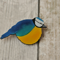 Handpainted Blue Tit Brooch SALE