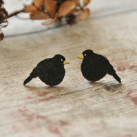 Handpainted Black Bird Stud Earrings