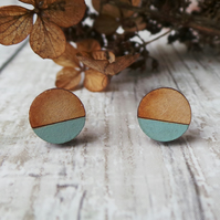 Geometric Wooden Lasercut Round Stud Earrings Dipped Sage Pastel Green