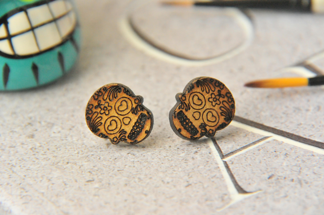 Sugar Skull Wooden Lasercut Stud Earrings