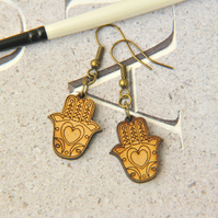 Patterned Hand Wooden Lasercut Stud Earrings